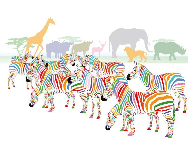 Colorful striped zebra illustration vector illustration
