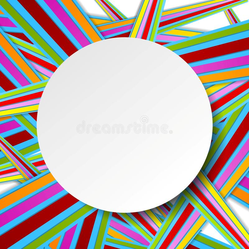 Colorful stripes and grey circle stock illustration