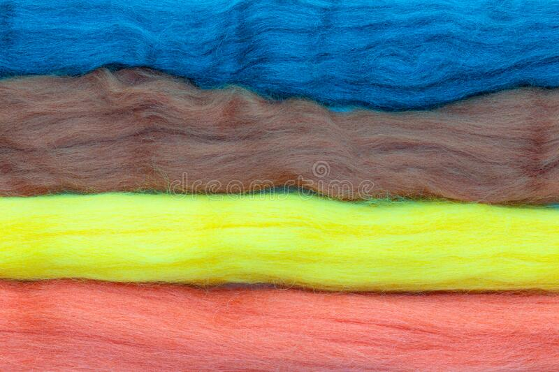 Colorful stripes of wool for felting royalty free stock image
