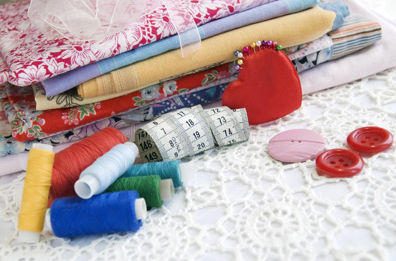 Colorful Stuff For Sewing At Home Royalty Free Stock Image