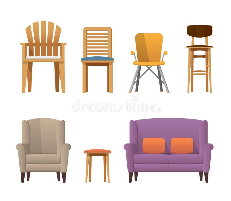 Colorful stylish garden, office, bar, diner, room, home chair set stock photography