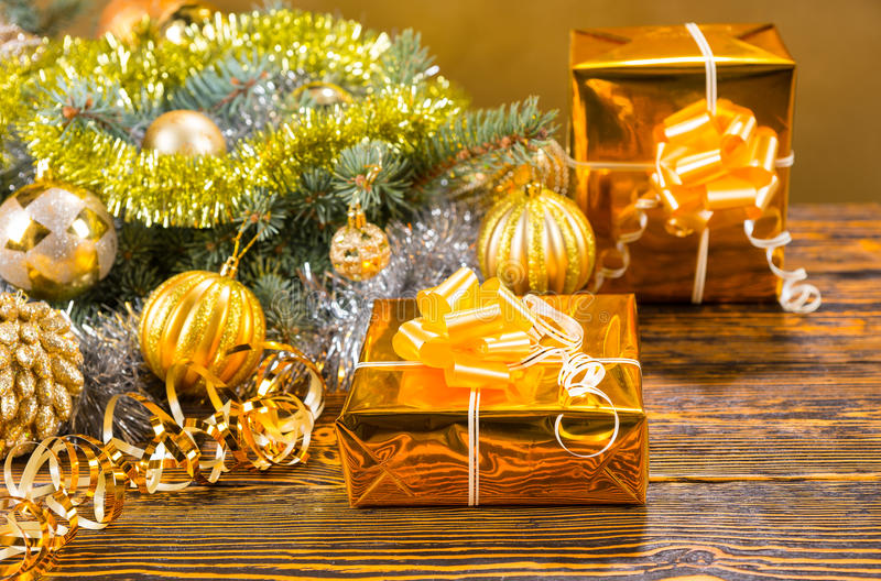 Colorful stylish gold Christmas still life royalty free stock image