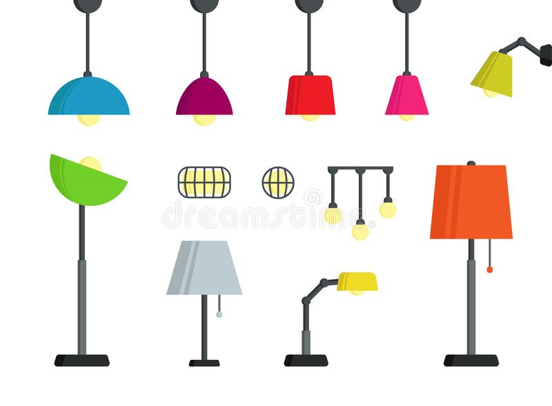 Colorful stylish standing, wall, desk, ceiling lamp set vector illustration