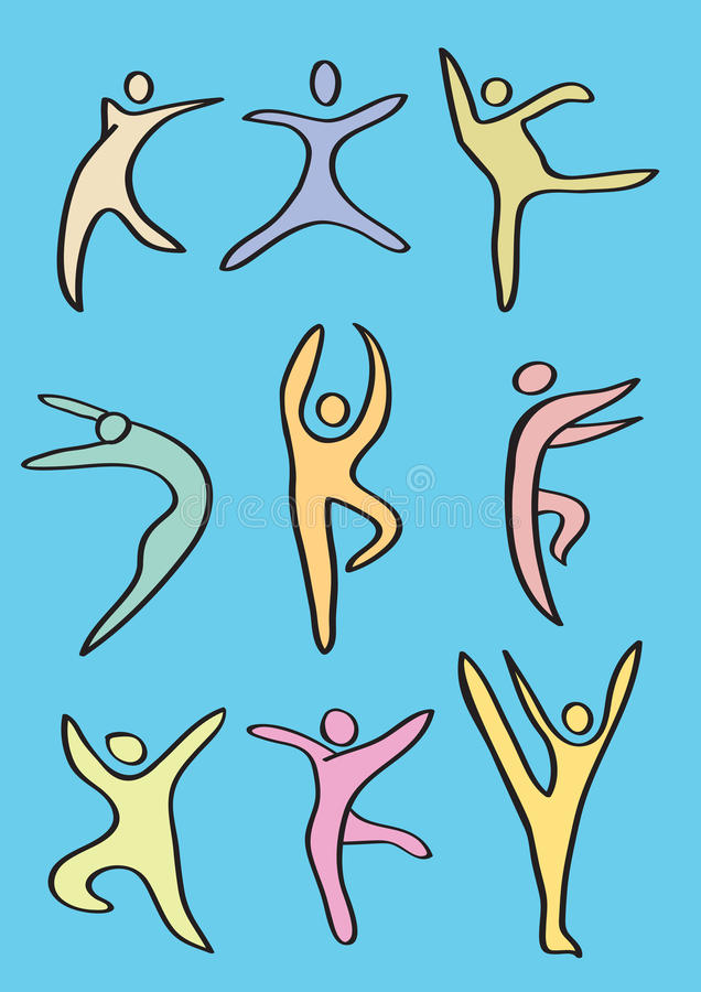 Colorful Stylized Dance Figures Vector Icon Set stock illustration