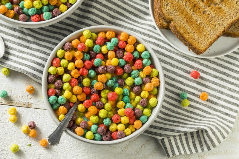 Colorful Sugar Breakfast Cereal stock photo