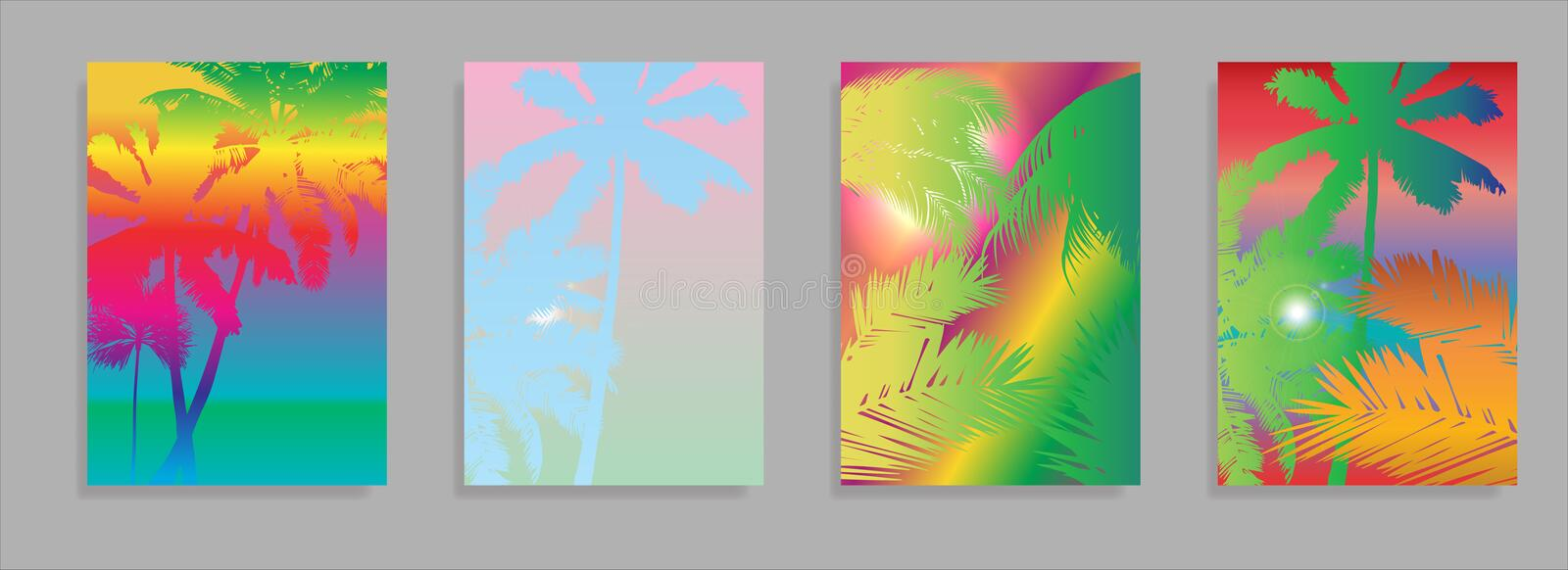 Colorful Summer banners, tropical backgrounds set with palms, leaves, sea, clouds, sky, beach colors. Beautiful Summer stock illustration