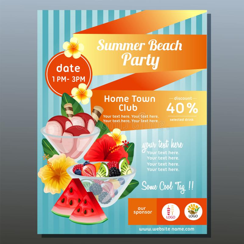 Colorful summer beach party poster with refreshment royalty free illustration