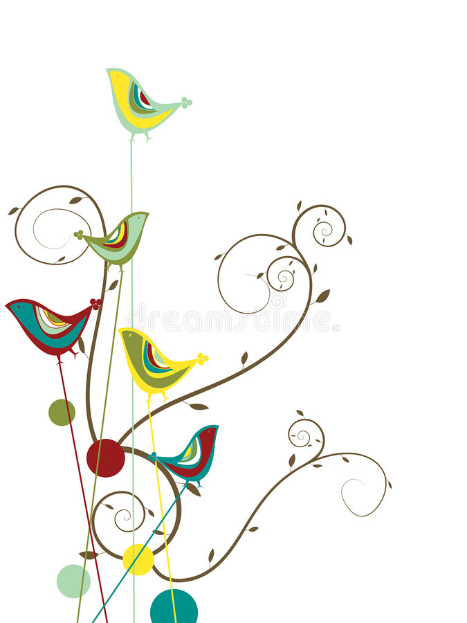 Free Colorful Summer Bird And Swirls Royalty Free Stock Photos - 4994058