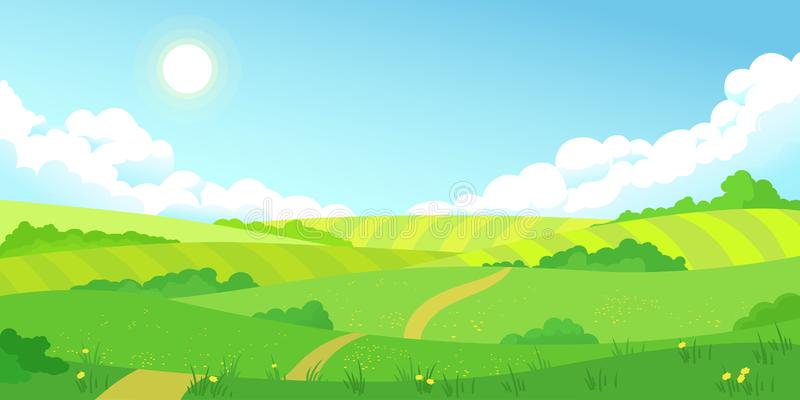 Colorful summer bright fields landscape, green grass, clear blue sky royalty free illustration