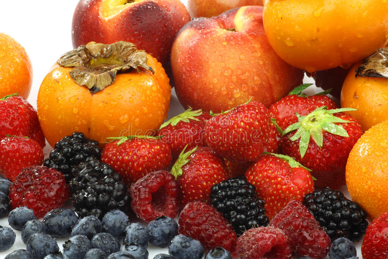 Colorful summer fruit collection. Isolated on white stock photography