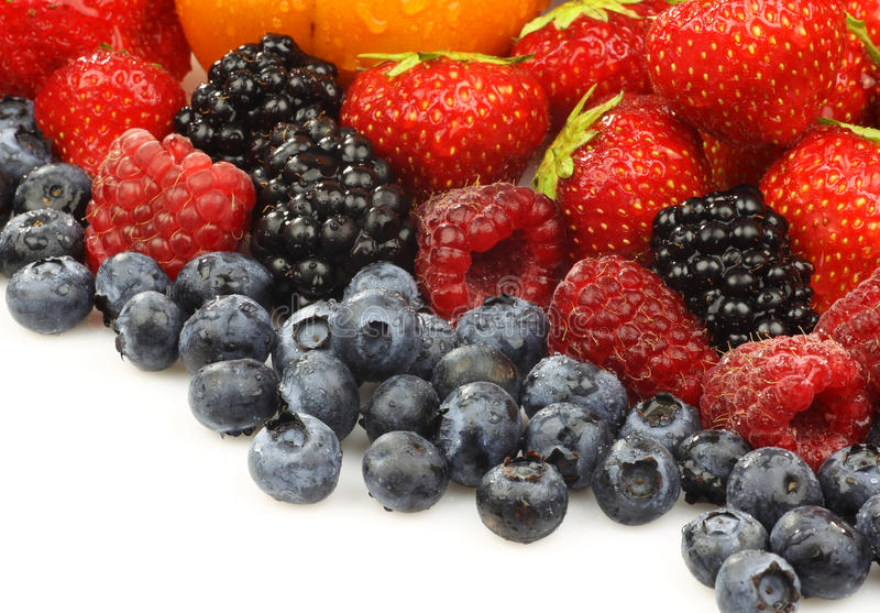 Colorful summer fruit collection. Isolated on white royalty free stock image