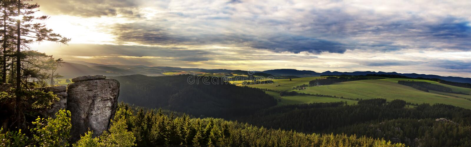 Colorful summer landscape with rocks of sandstone, Bohemia royalty free stock image