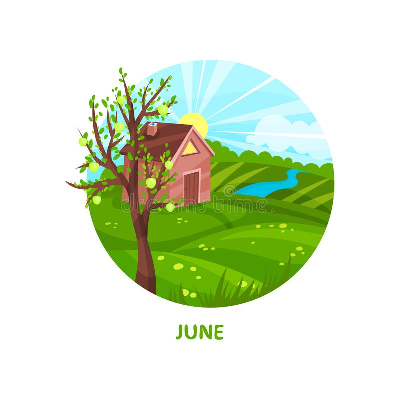 Summer landscape with small house, apple thee, field, river and bright sun. June month. Flat vector for calendar or stock illustration