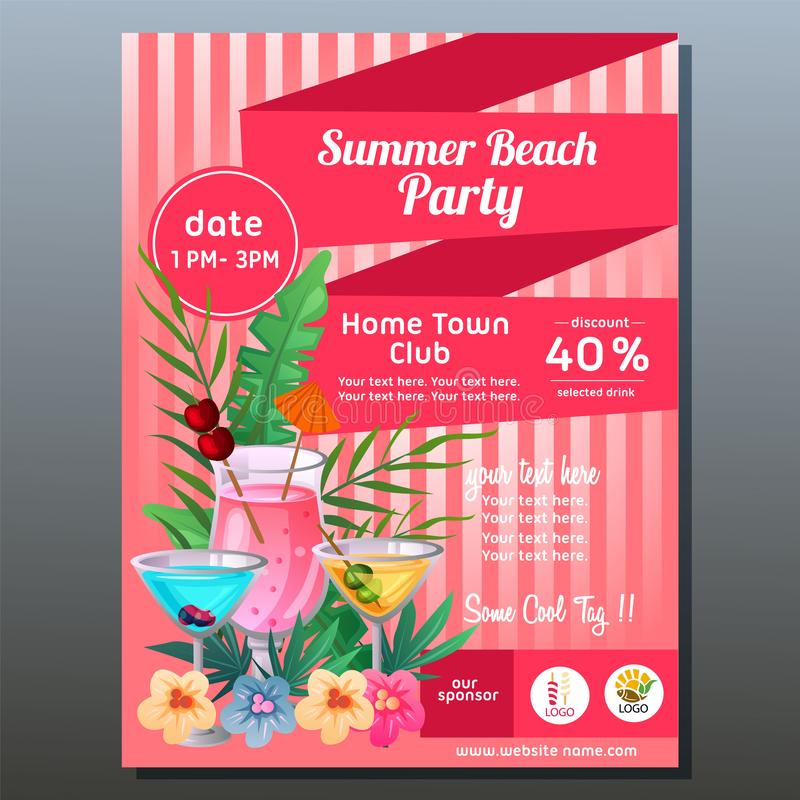 Colorful summer party poster with tropical cocktail drink stock illustration