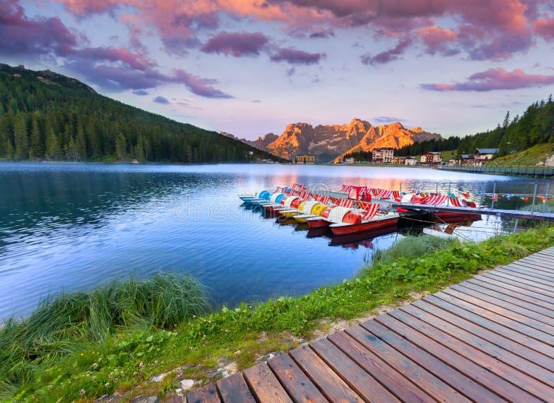 Colorful summer sunrise on the Lake Misurina, in Italy Alps, Tre Cime Di Lavaredo, Dolomites, Europe. royalty free stock image