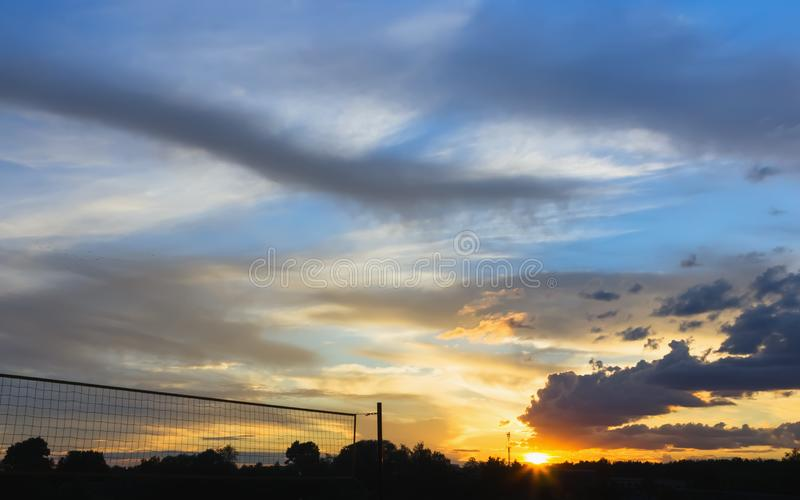 Colorful Summer Sunset With Picturesque Clouds royalty free stock photos