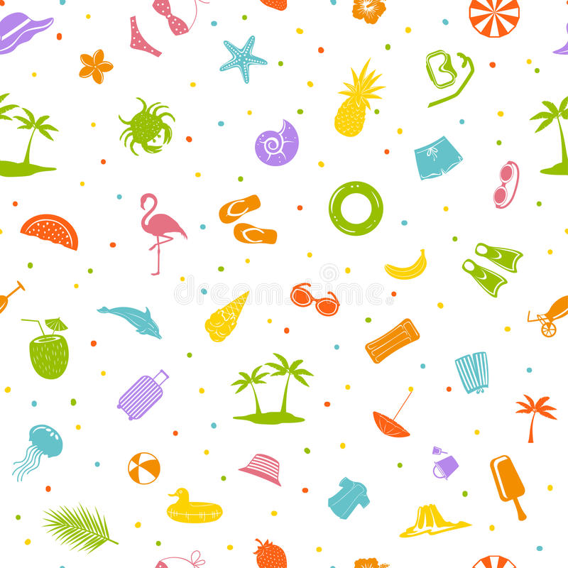 Colorful summer time beach travel items seamless pattern. Colorful summer time beach travel items decoration seamless pattern vector illustration