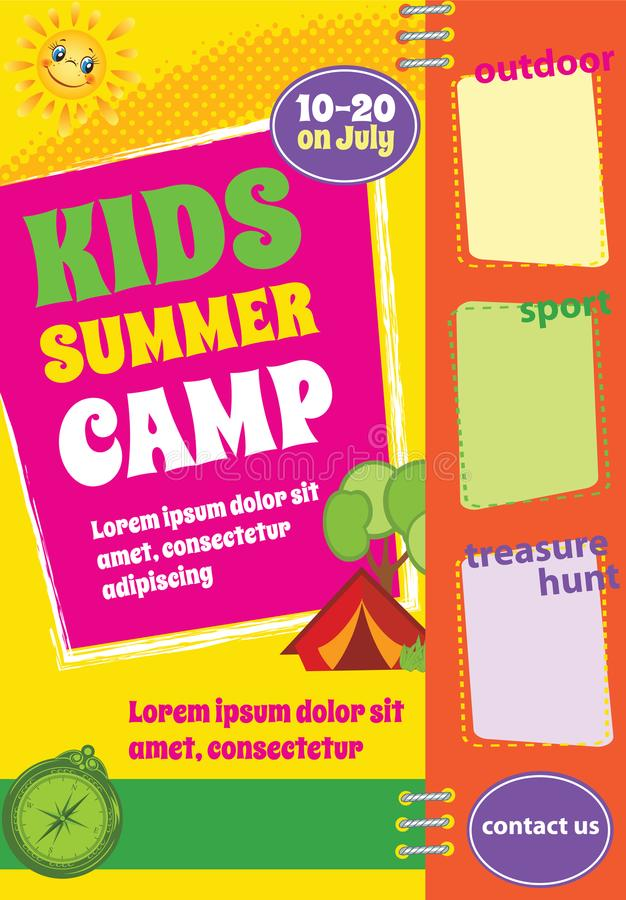 Colorful Summer Travel Template, Summer Camp Flyer vector illustration