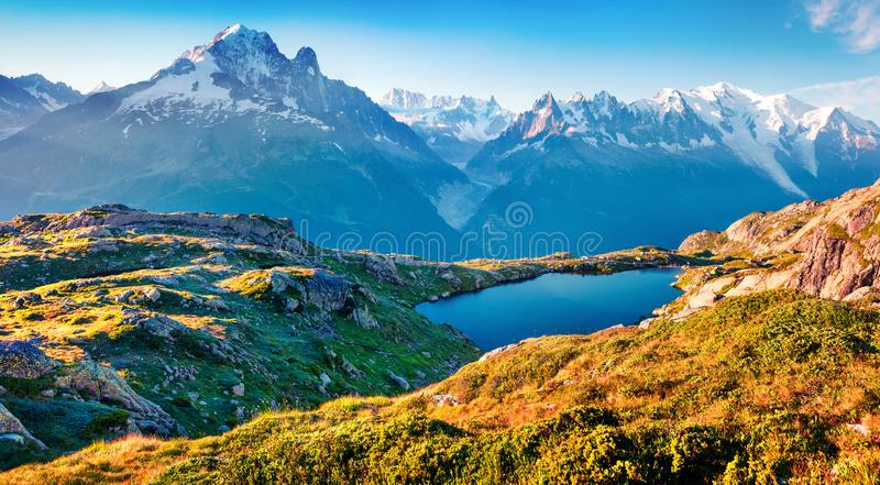Colorful summer view of the Lac Blanc lake with Mont Blanc Monte Bianco on background, Chamonix location. Beautiful outdoor scen stock image