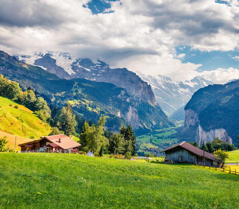Colorful summer view of Wengen village. Dramatic outdoor scene in Swiss Alps, Bernese Oberland in the canton of Bern, Switzerland, royalty free stock photos