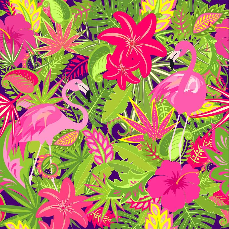 Colorful summery wallpaper with exotic flowers, tropical leaves and pink flamingo for fabric, textile, wrapping paper, greeting ca. Rd, invitation, party design stock illustration