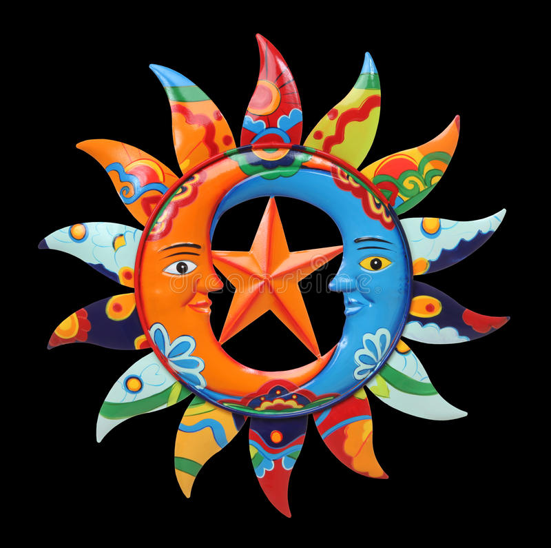 Colorful Sun and Moon stock images