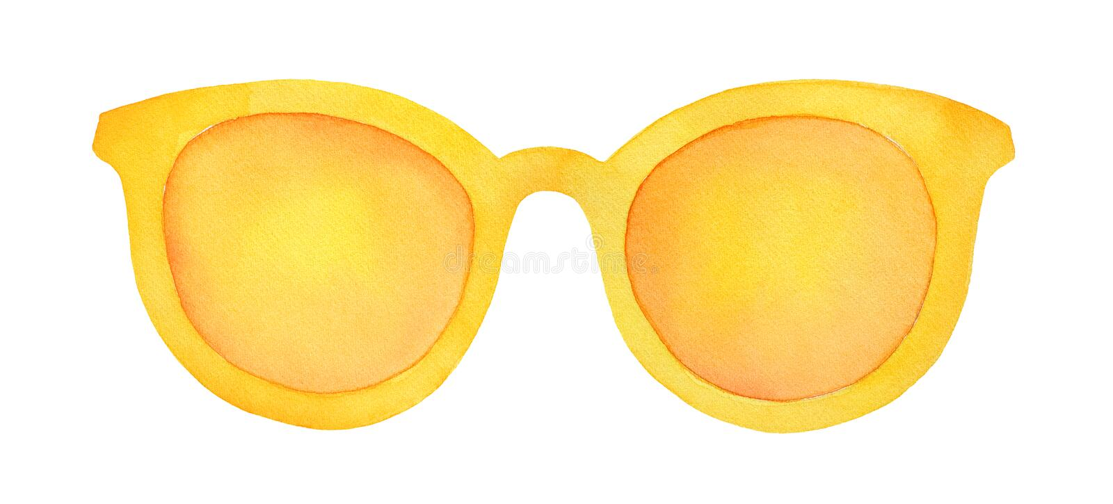 Colorful sunglasses with yellow lens and frame. One single object, closeup, front view. Hand drawn watercolour drawing on white background, cutout clipart royalty free illustration