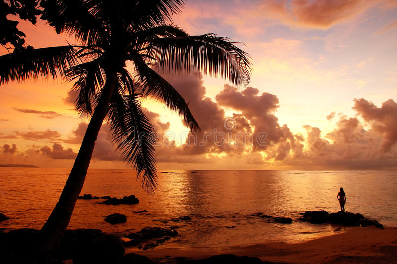 Colorful sunrise on the beach in Lavena village in Taveuni Isla. Colorful sunrise on the beach in Lavena village on Taveuni Island, Fiji. Taveuni is the third stock photo