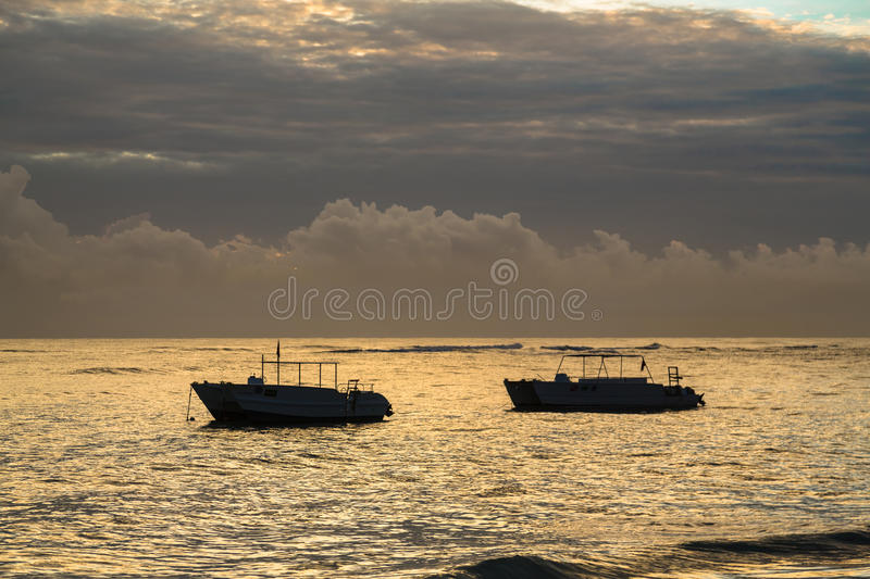 Colorful sunrise over Atlantic ocean. Dominican republic, Bavaro beach.  royalty free stock photography