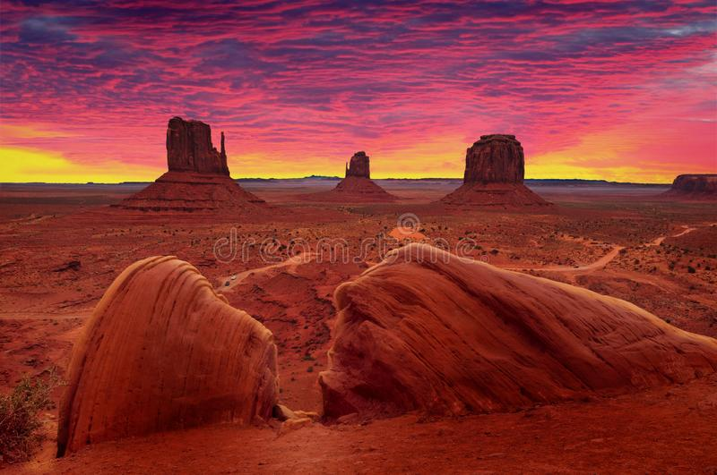 Sunrise over Monument Valley Tribal Park in Utah-Arizona border, USA. Colorful sunrise over Monument Valley Tribal Park in Utah-Arizona border, USA royalty free stock photography