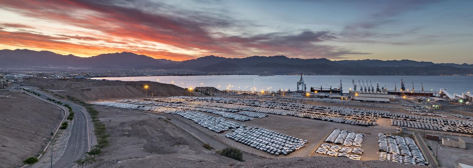Colorful sunrise at a top of the mount above marine port Eilat. Photo was taken in vicinity of Eilat - famous tourist resort city in Israel stock image