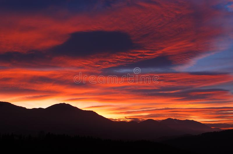 Colorful sunset stock photography
