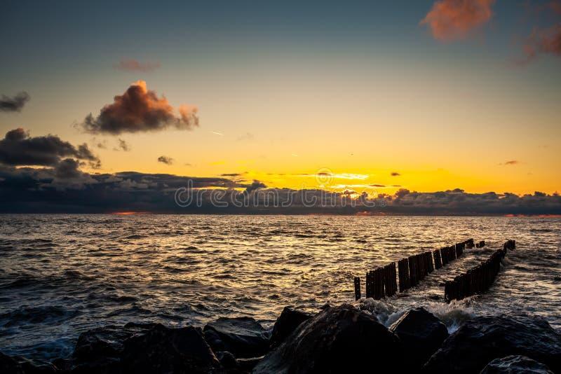 Colorful sunset in the Black Sea, Poti, Georgia.  stock image