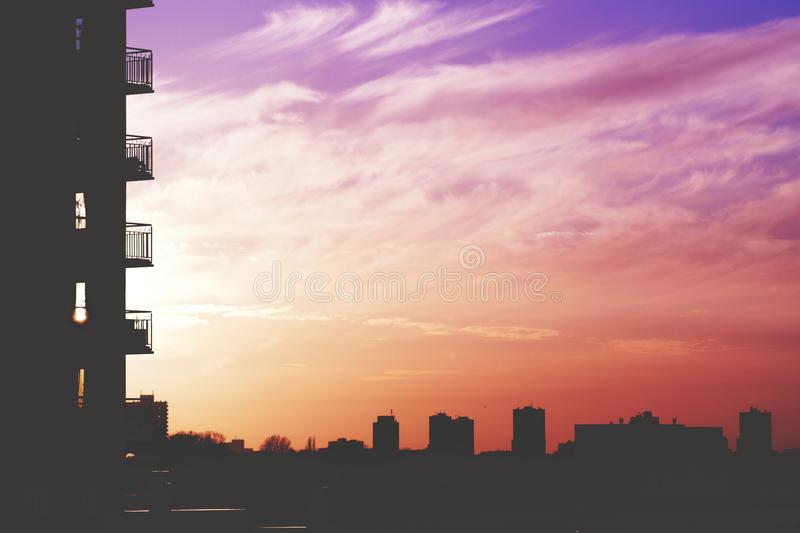 Colorful sunset in city stock photo