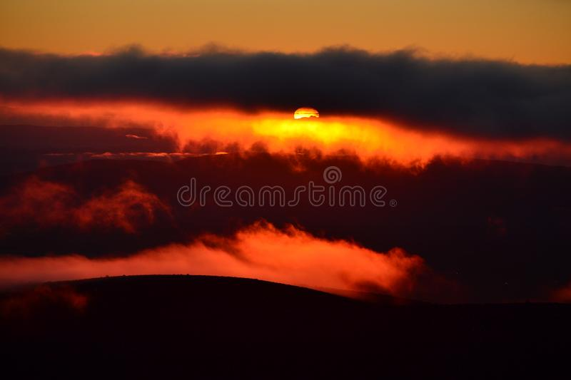 From Tongariro national park, unique sunset. stock images