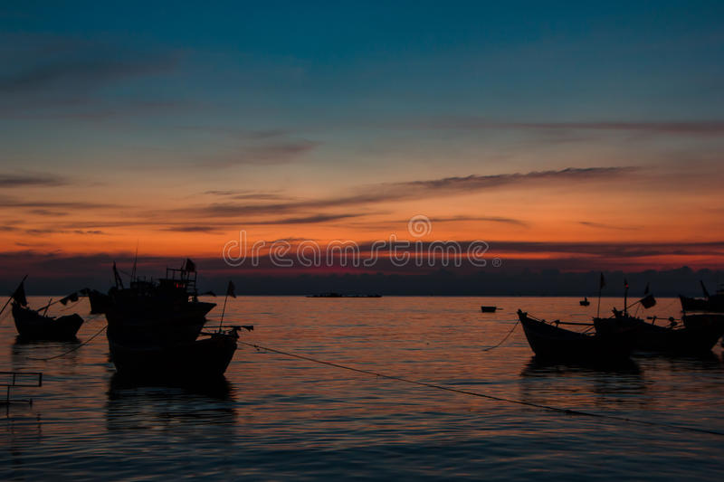 Colorful sunset on the coast of the South China Sea stock image