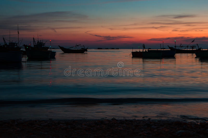 Colorful sunset on the coast of the South China Sea stock photos