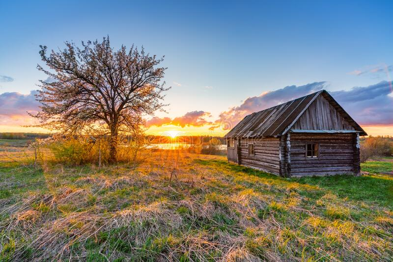 Colorful sunset in a countryside royalty free stock photo
