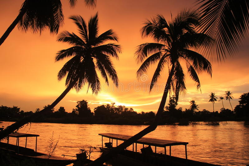 Colorful Sunset in Laos stock images