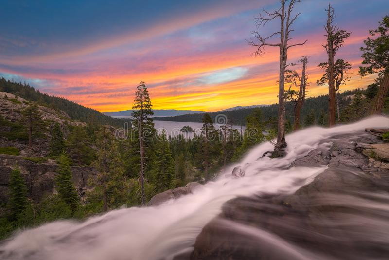 Eagle Falls sunset near Emerald Bay California royalty free stock photo