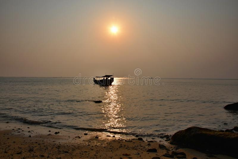 Colorful sunset over evening sea horizon royalty free stock photo