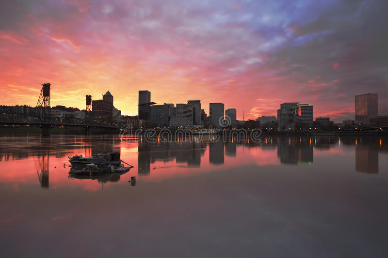 Colorful Sunset Over Portland Downtown Waterfront stock image