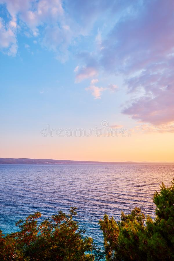 Colorful sunset over the sea, Dalmatia, Croatia, Europe stock photos
