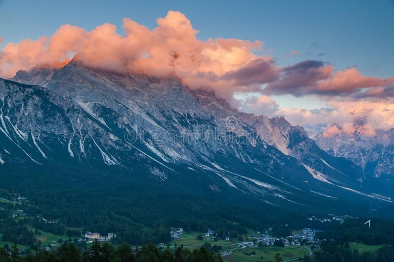 Colorful sunset over the town of Cortina d`Ampezzo royalty free stock photo