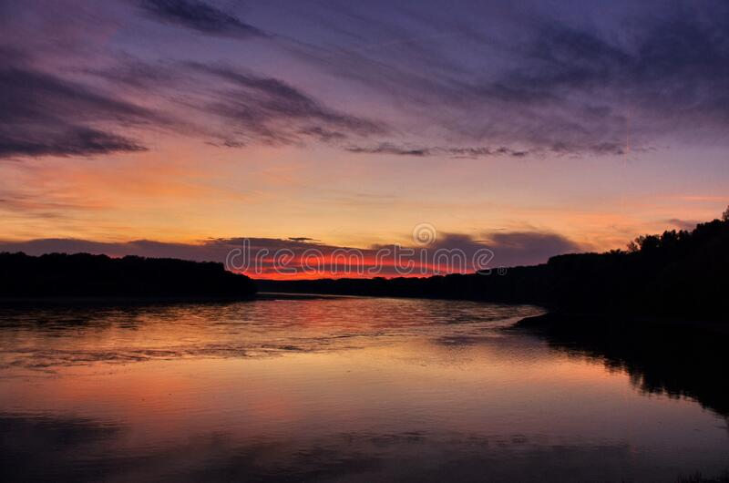 Colorful Sunset At River Side. Beautiful panorama sunset background. Colorful Sunset At River Side. Beautiful panorama sunset background theme royalty free stock image