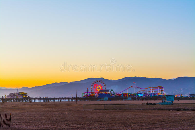 Colorful sunset in Santa Monica. California stock image