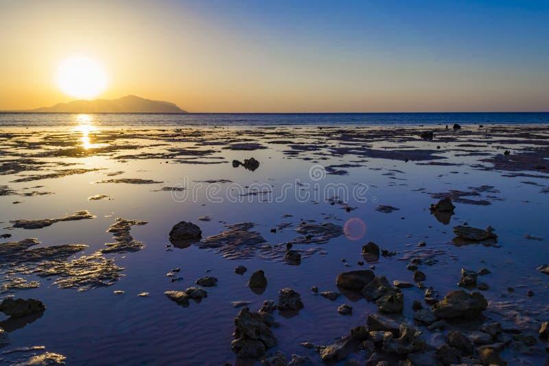 Colorful sunset in Sharm-El-Sheikh, Egypt over Tiran island, Red. Sea, Saudi Arabia royalty free stock photos