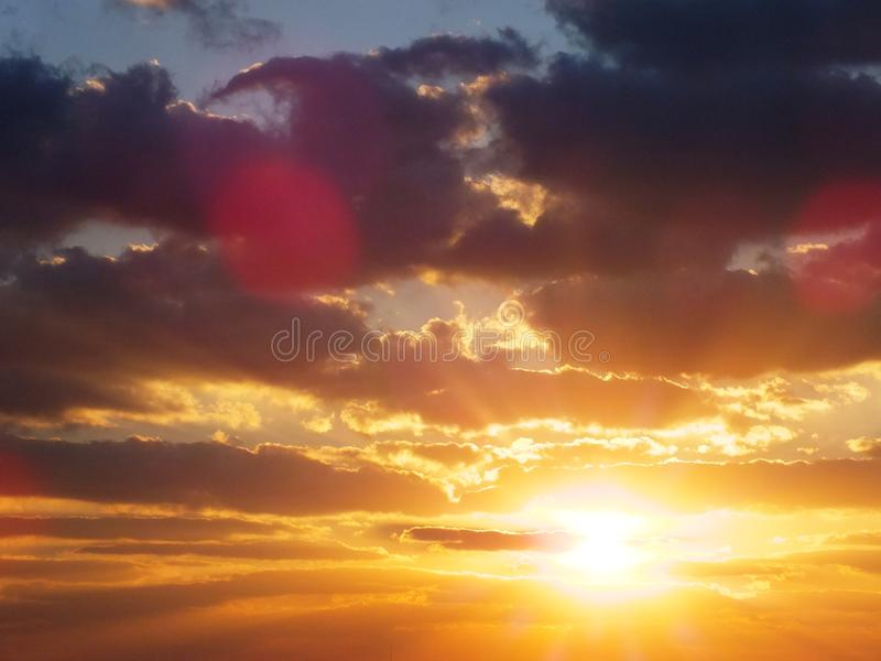 Colorful Sunset sky over the dessert. Nature composition. royalty free stock photo