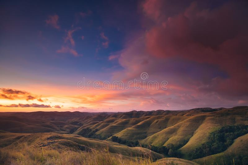Colorful sunset sky over mountain panorama royalty free stock photo
