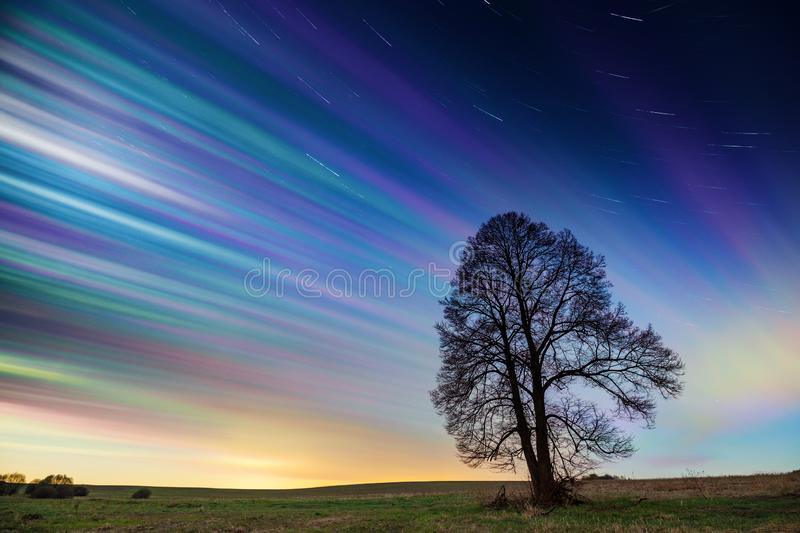 Timelapse of colorful sunset sky with stars over green field royalty free stock image